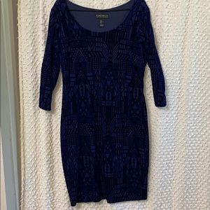 Navy suede fitted dress